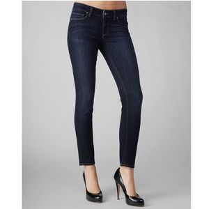 PAIGE Dark Wash Whiskered Skyline Ankle Peg Jean
